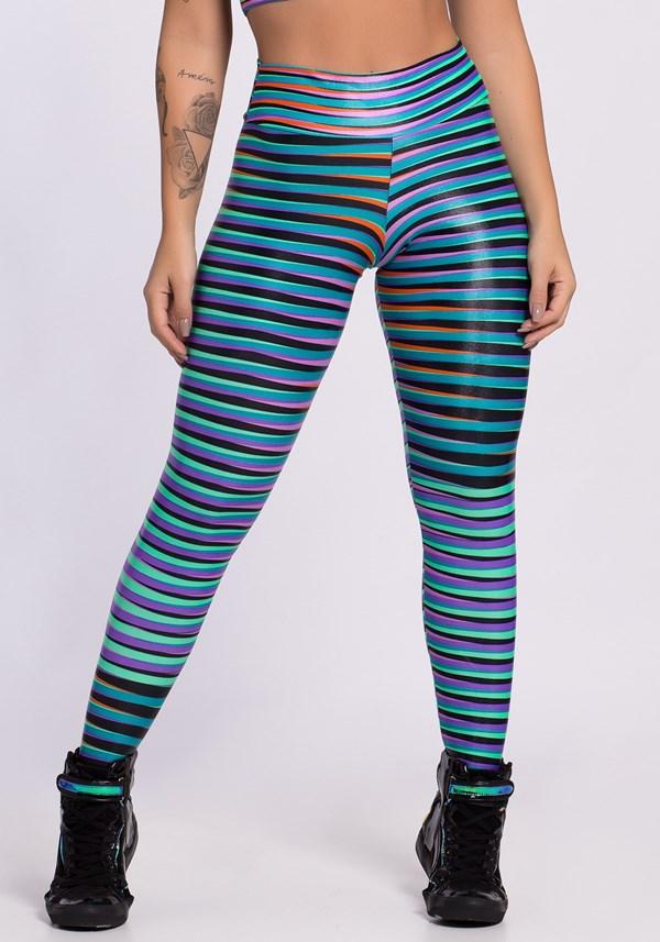 Calça legging cirrê estampada coral lines
