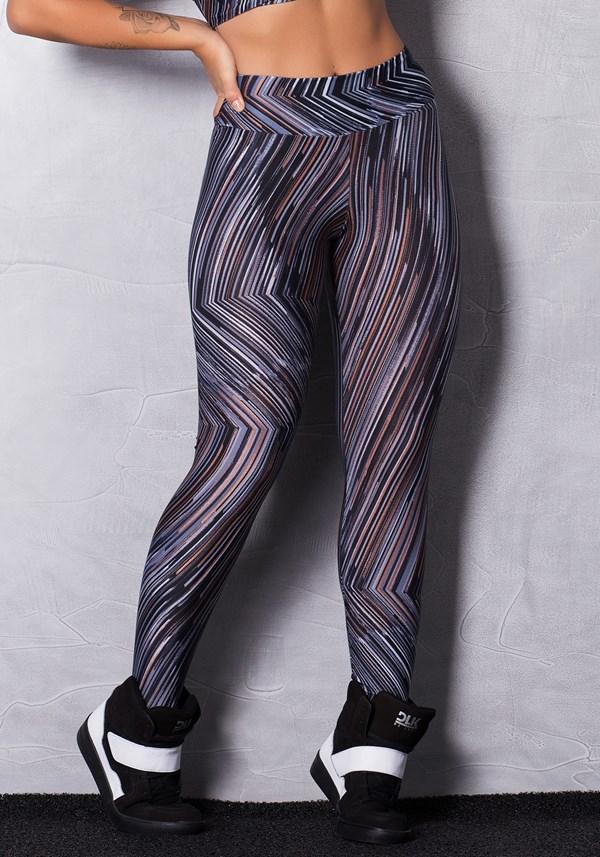 Calça legging cirrê estampada grey and glitter
