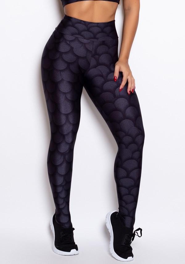 Calça legging cirrê estampado black lines
