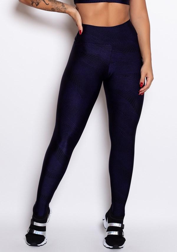 Calça legging cirrê estampado blue lines