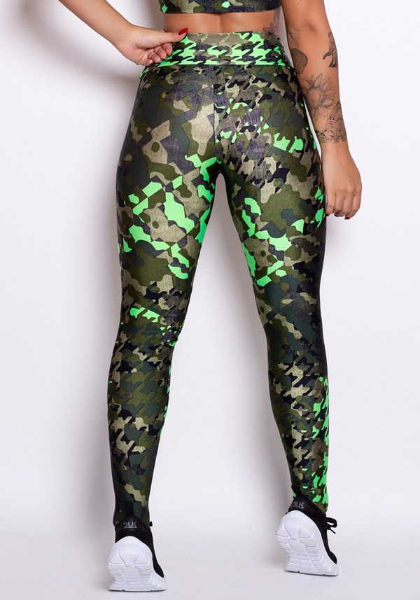 Calça legging cirrê estampado green army