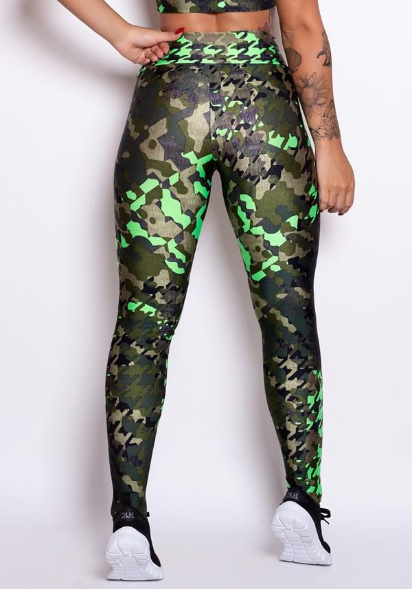 Calça legging cirrê estampado militar camuflado verde