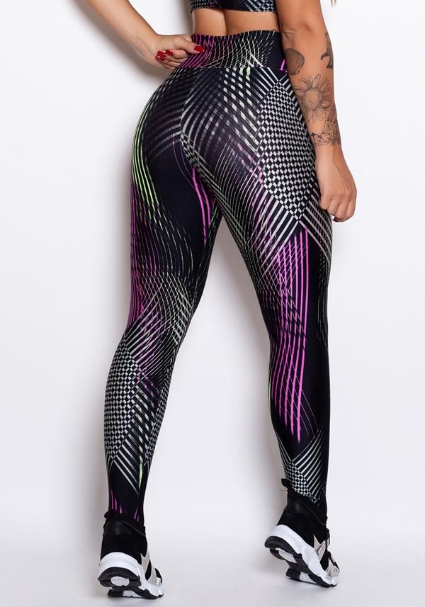 Calça legging cirrê estampado neon lines