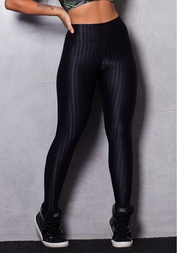 Calça legging cirrê preta alto relevo start now