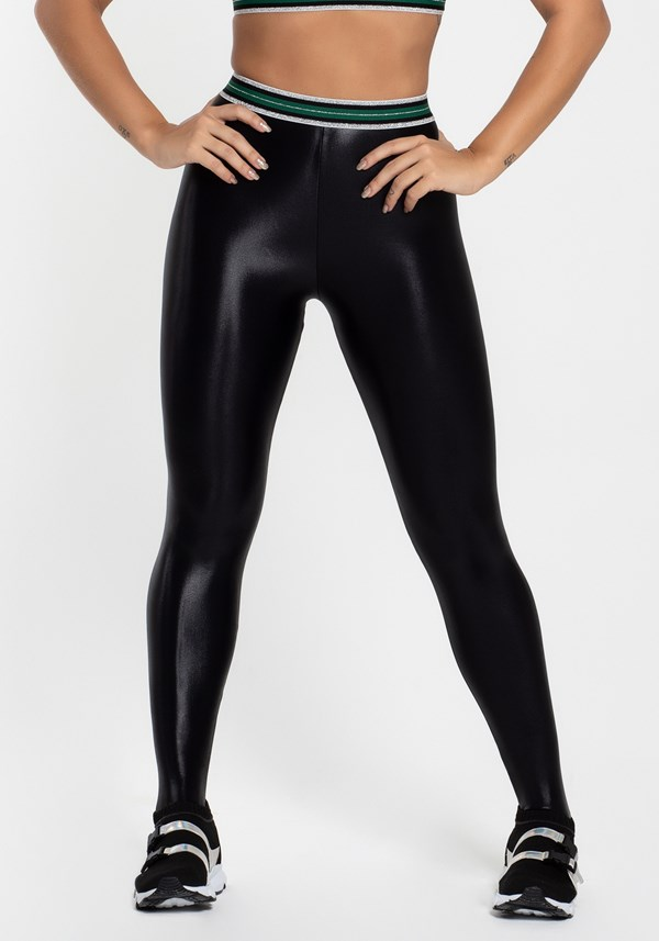 Calça legging cirre preta com elástico glitter
