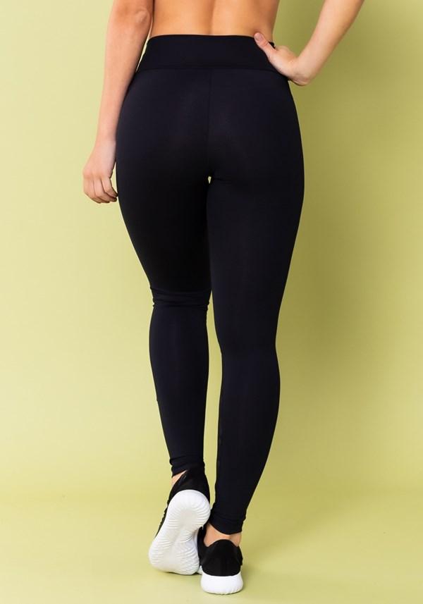 Calça legging energy com recorte em tela camuflada preta