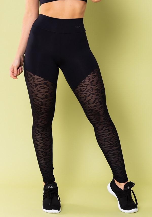 Calça legging energy com recorte em tela onça preta