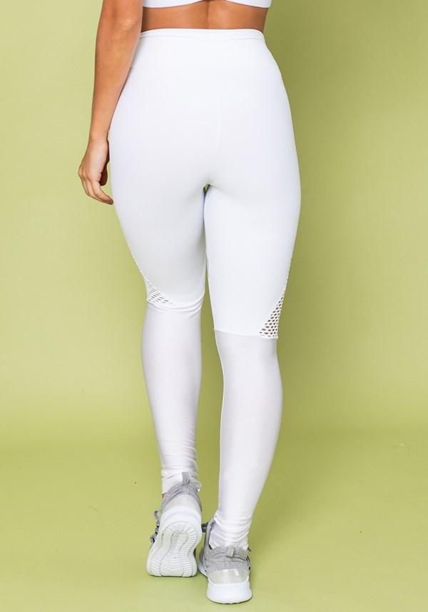 Calça legging energy com recortes em tela branca