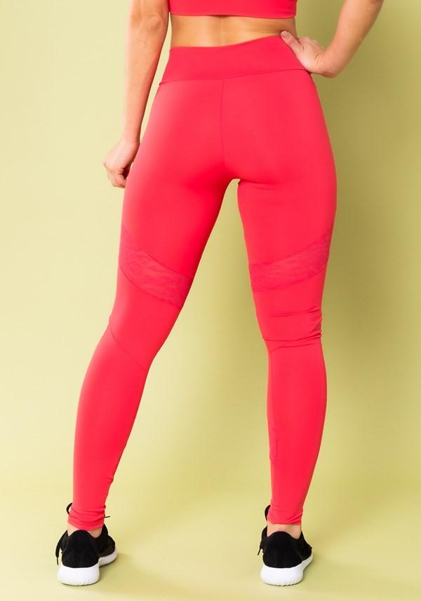 Calça legging energy com recortes em tela onça rosa