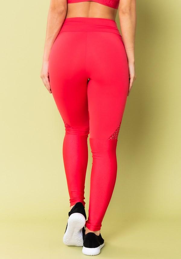 Calça legging energy com recortes em tela rosa