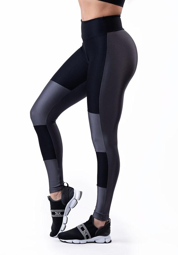 Calça legging energy com recortes grafite brilho e preto texturizado
