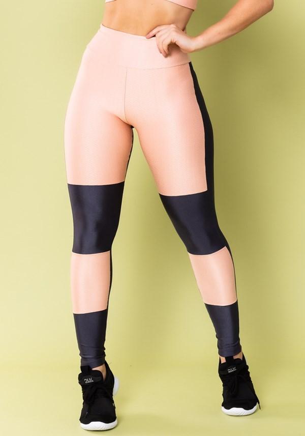 Calça legging energy com recortes grafite brilho e rosa bebê texturizado