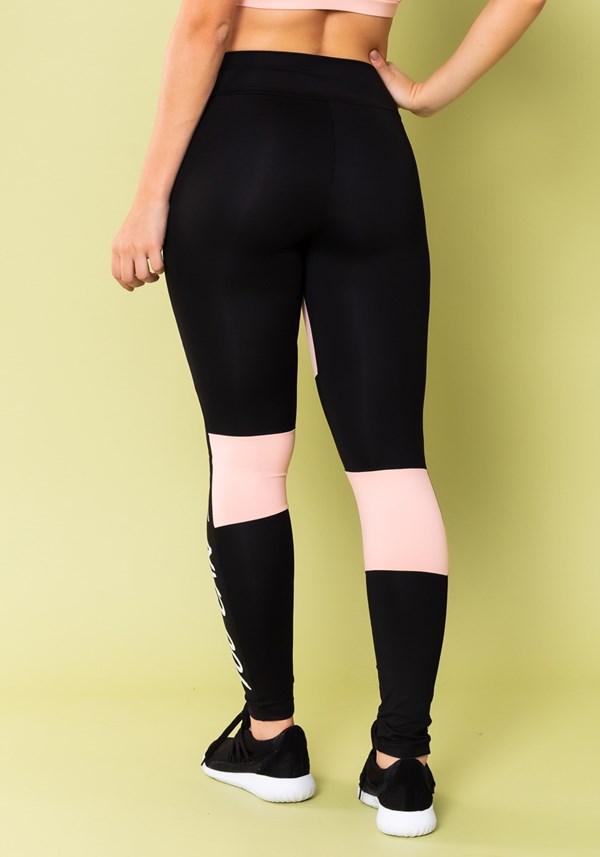Calça legging energy com recortes preto e rosa bebê