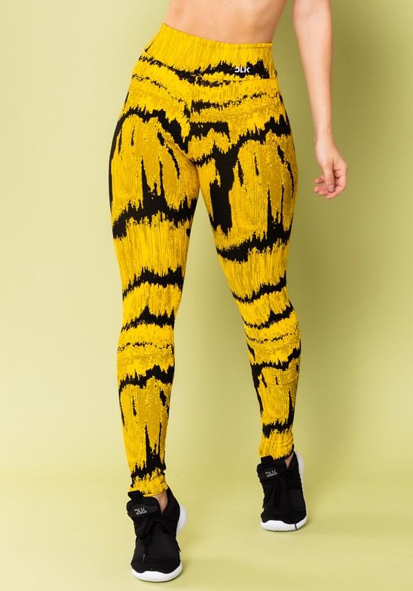 Calça legging energy estampada frequência amarelo