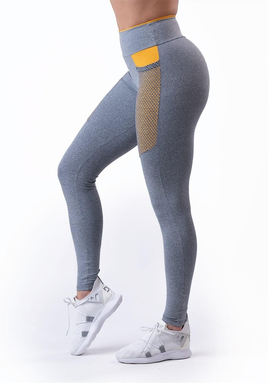 Calça legging energy mescla com recorte amarelo e tela