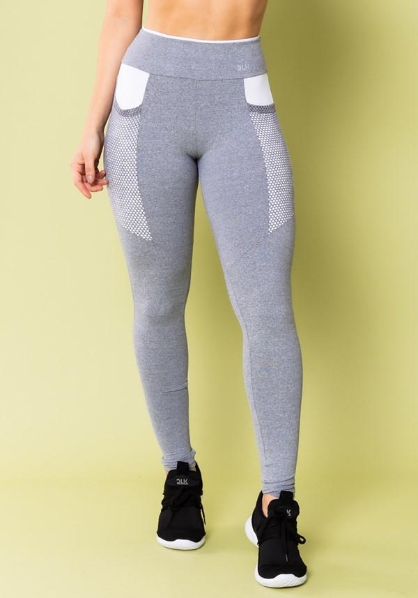 Calça legging energy mescla com recorte branco e tela