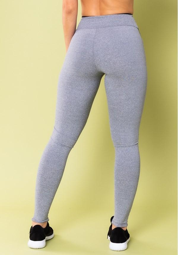 Calça legging energy mescla com recorte preto e tela