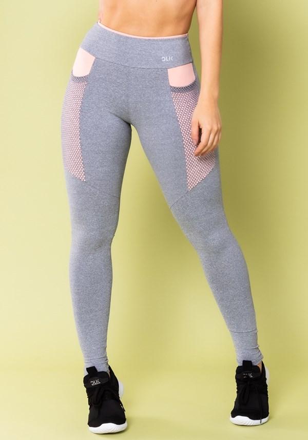 Calça legging energy mescla com recorte rosa bebê e tela