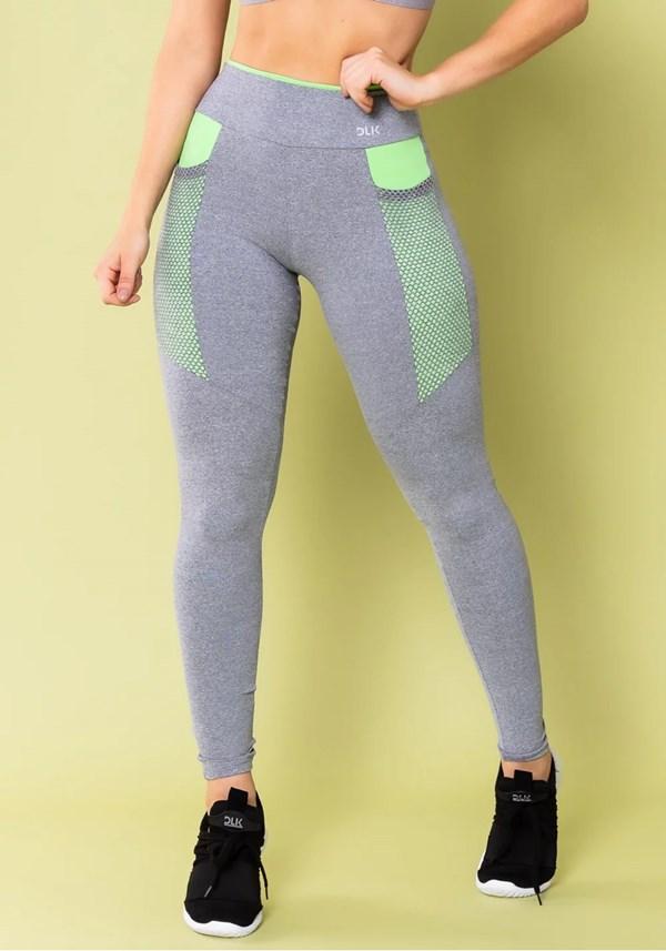 Calça legging energy mescla com recorte verde e tela