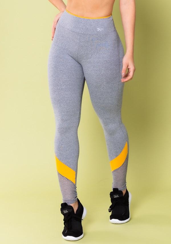 Calça legging energy mescla com tela e recorte amarelo