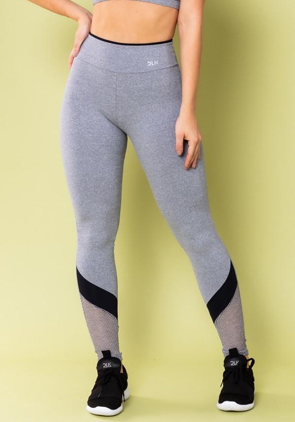 Calça legging energy mescla com tela e recorte preto