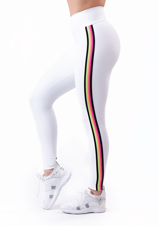 Calça legging energy poliamida branca com elástico colorido