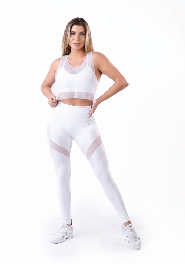 Calça legging energy poliamida com tule branca