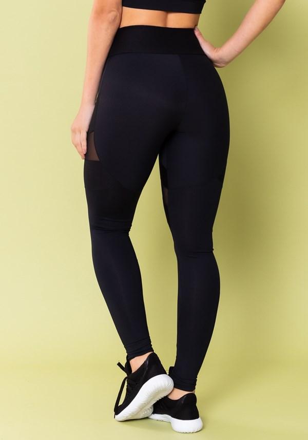 Calça legging energy poliamida com tule preta