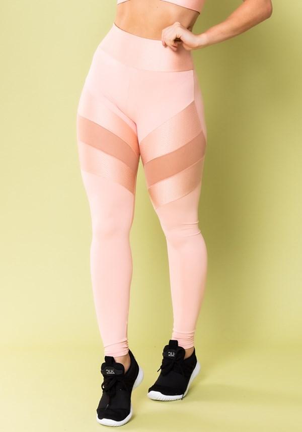 Calça legging energy poliamida com tule rosa bebê