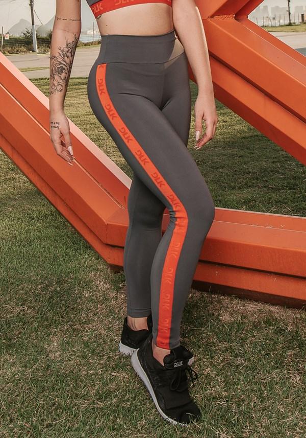 Calça legging energy poliamida grafite com elástico laranja