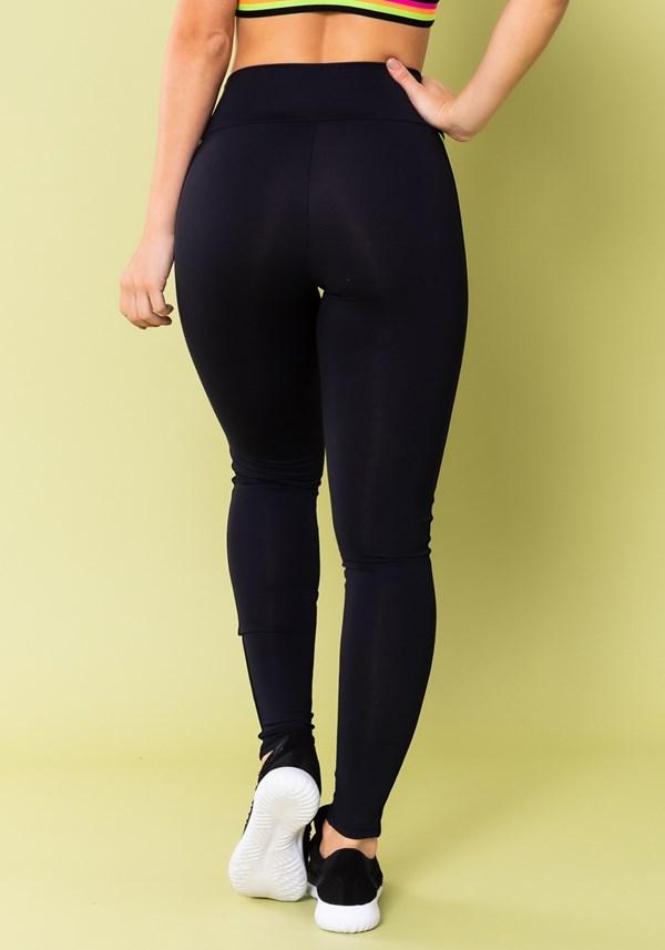 Calça legging energy poliamida preta com elástico colorido