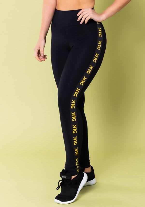 Calça legging energy poliamida preta com elástico detalhe amarelo
