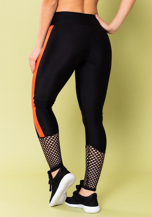 Calça legging energy poliamida preta com tela e elástico laranja