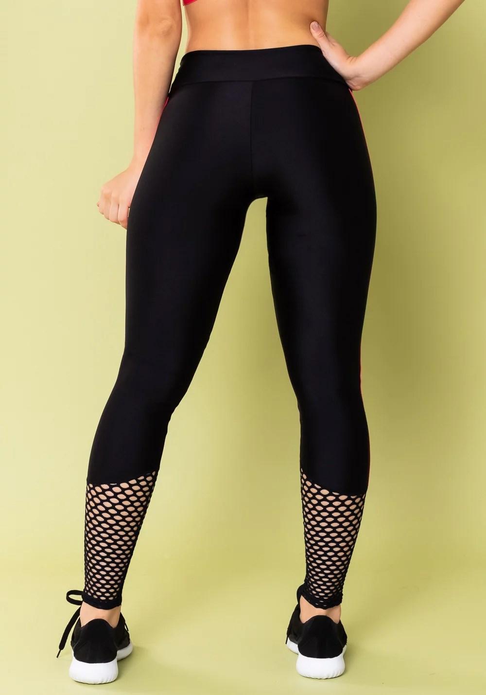 Calça legging energy poliamida preta com tela e elástico rosa