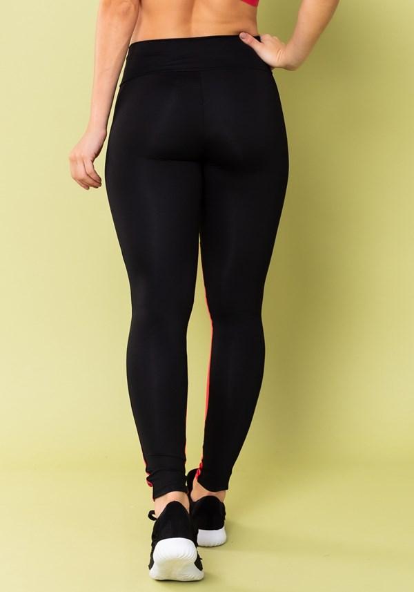 Calça legging energy preta com recorte e elástico rosa