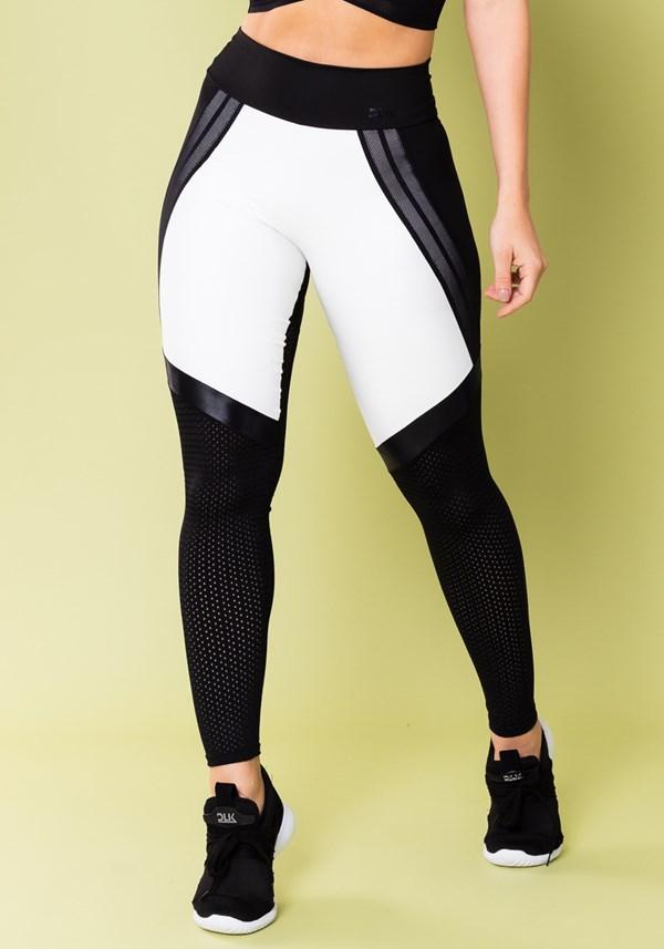 Calça legging energy preto com tela e elástico detalhe branco