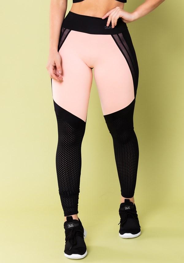 Calça legging energy preto com tela e elástico detalhe rosa bebê