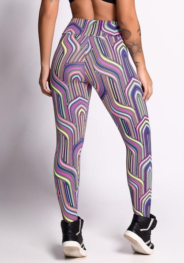 Calça legging estampada colored lines