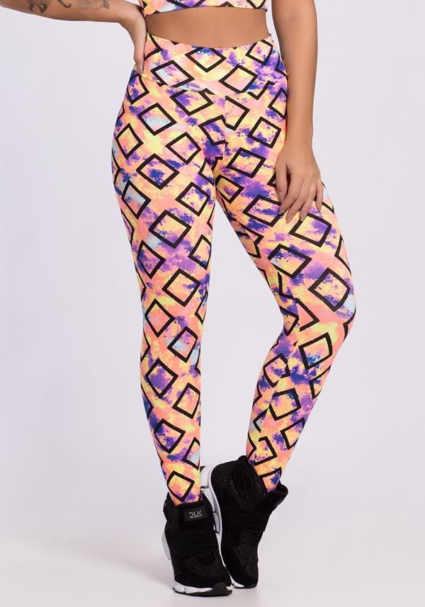 Calça legging estampada geometric