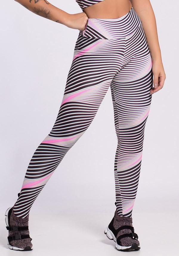 Calça legging estampada linhas pretas e neon