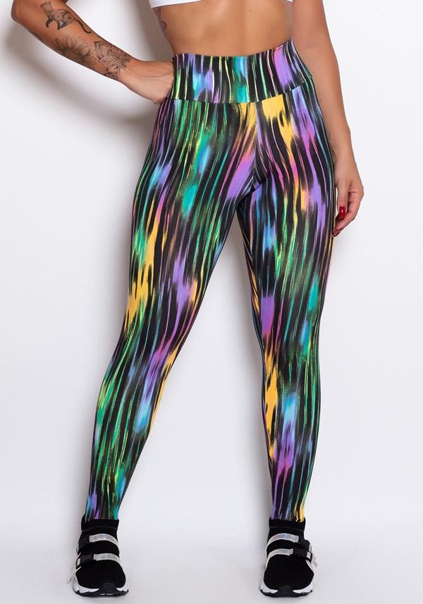 Calça legging estampada preta linhas coloridas