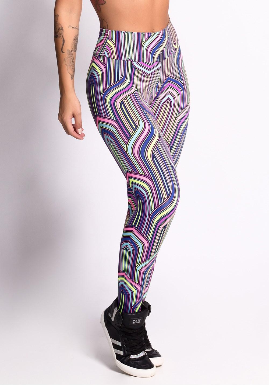 Calça legging estampada triumph purple