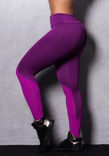 Calça legging fúcsia texturizada