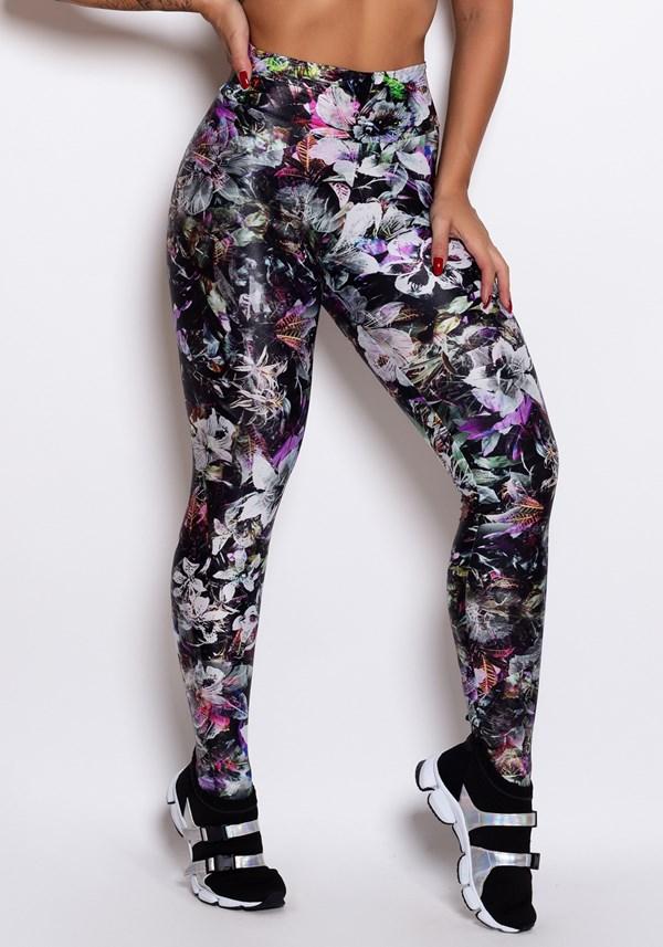 Calça legging glow preta flores