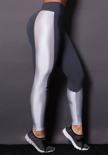 Calça legging grafite com brilho prata