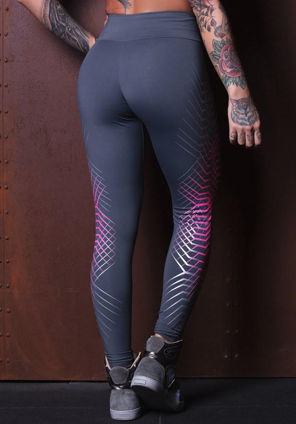 Calça legging grafite com silk rosa e prata