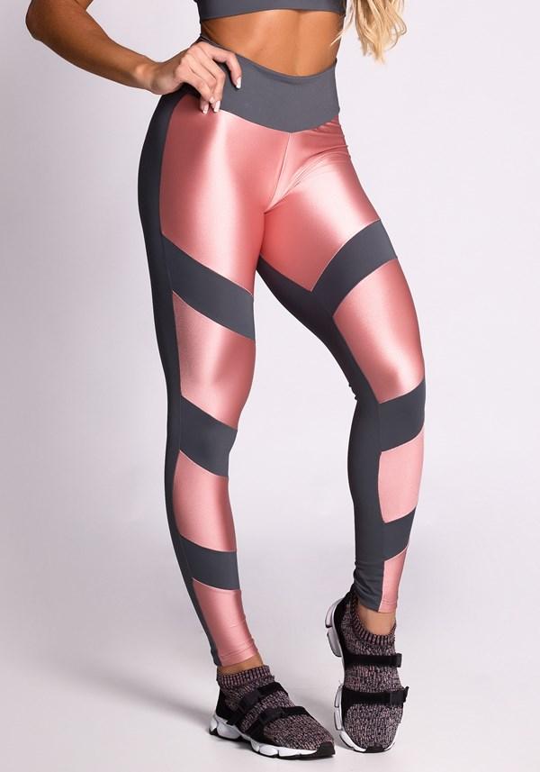 Calça legging grafite e metal rosê