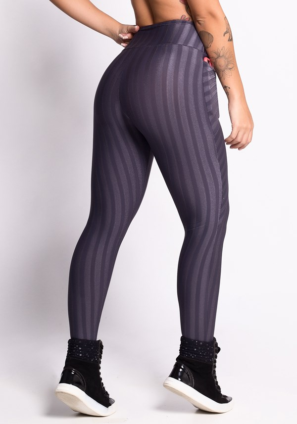 Calça legging grafite shine stripes com bolsos
