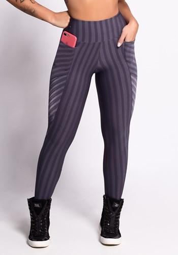 Calça legging grafite shine stripes com bolsos