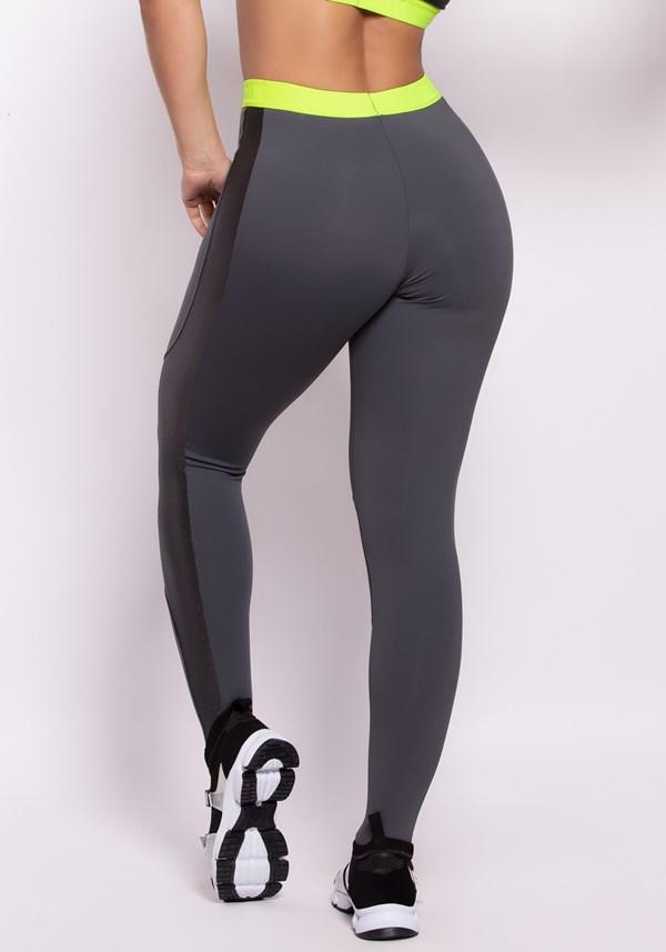 Calça legging grey tex com elástico neon dlk